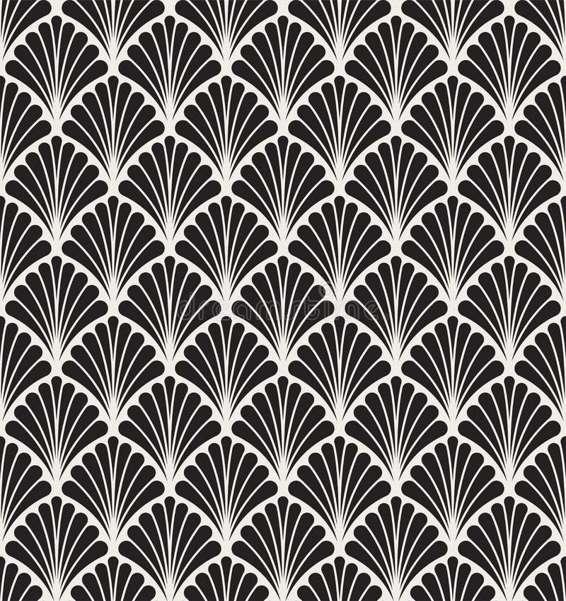 Vector Art Nouveau Seamless Pattern floral Textura decorativa geométrica de las hojas Fondo elegante retro stock de ilustración