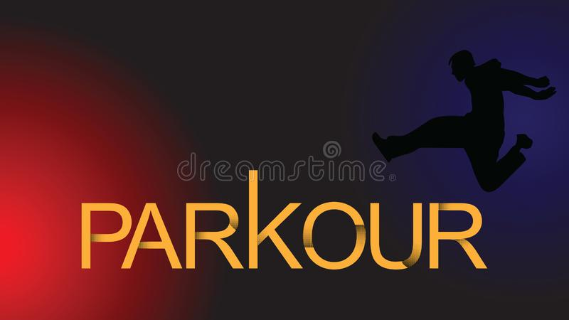 Vector art. Parkour is a man. Leap forward. Parkour is a man. Leap forward. Vector in a minimalistic style. Silhouette of a man against the background of stock illustration