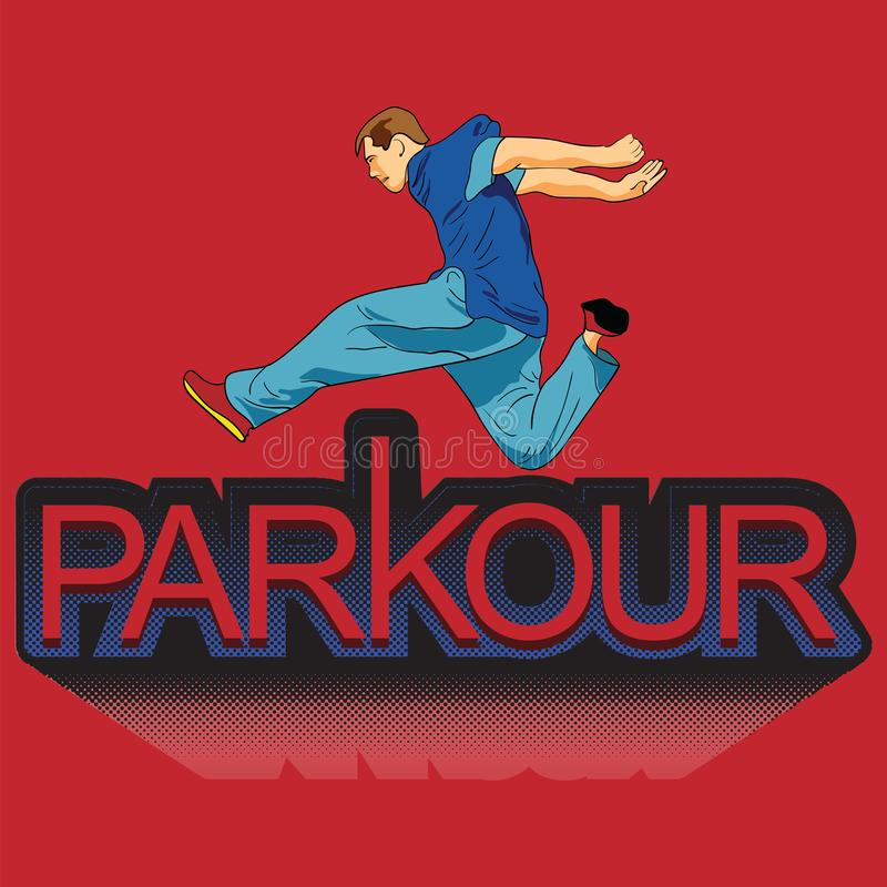 Vector art. Parkour is a man. Leap forward. Parkour is a man. Leap Forward. Vector in the style of pop art. Men in sportswear. Print for fabric stock illustration