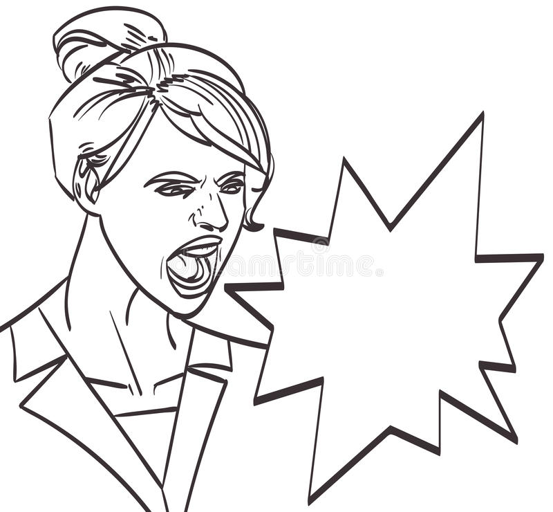 Vector art of screaming woman, lineart isolated eps 10 stock illustration