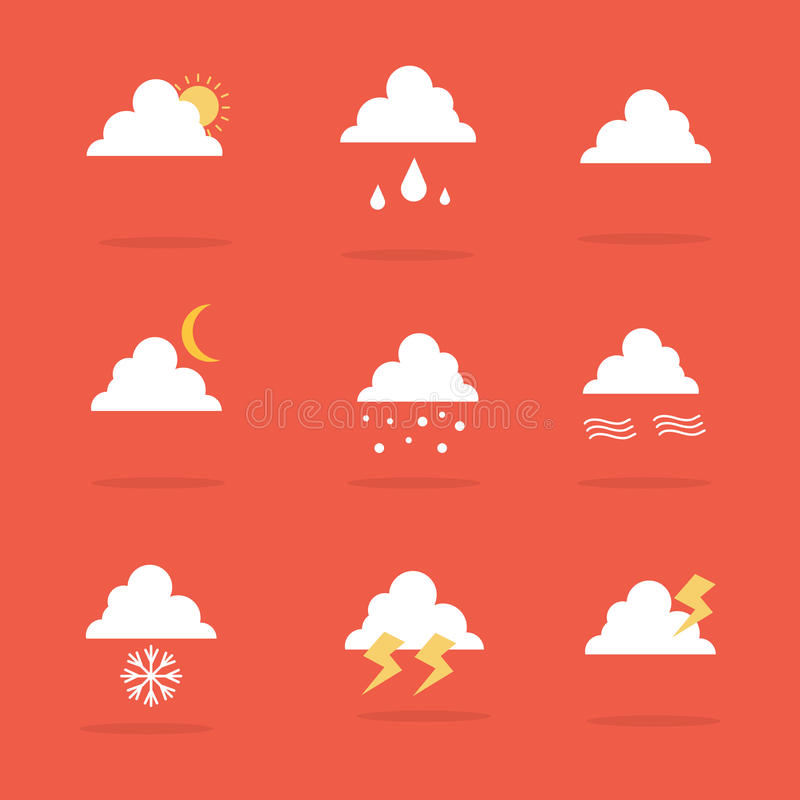 Vector art of weather set icon stock illustration