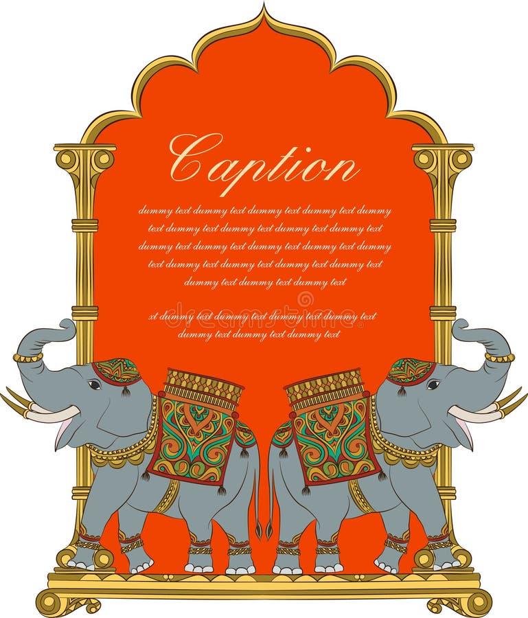 Vector a arte do elefante real no estilo indiano da arte ilustração stock