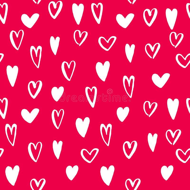 Vector a arte sem emenda do fundo do teste padrão dos ícones do coração para o dia de são valentim ilustração royalty free