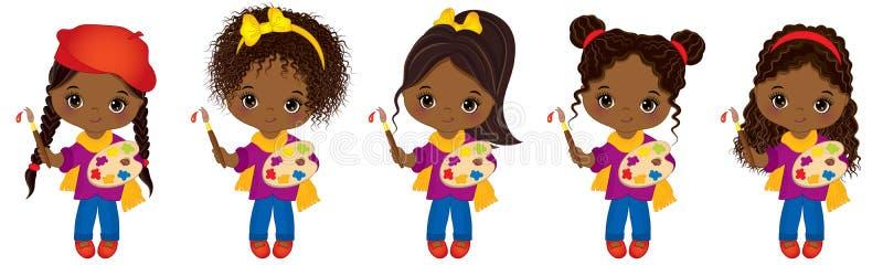 Vector artistas afro-americanos pequenos bonitos com paletas e as meninas afro-americanos pequenas do vetor das escovas de pintur ilustração stock