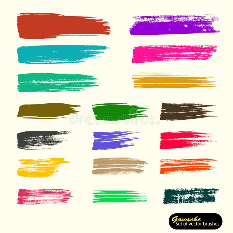 Vector artistic backdrop. Saved palette file brushes.  Colored paint, acrylic brush, gouashe brush stroke, line or texture. stock illustration