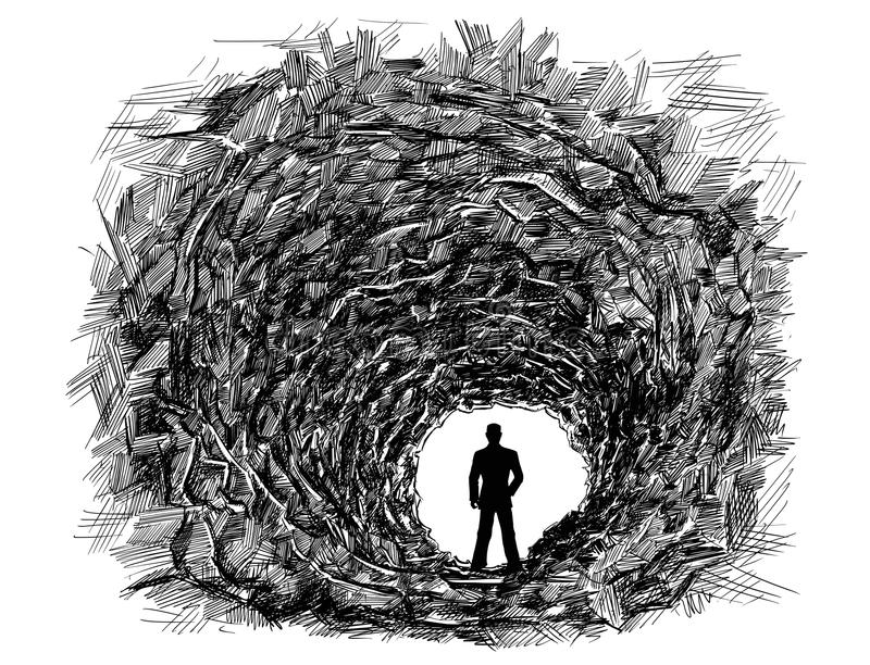 Vector Artistic Drawing Illustration of Cave Tunnel in Rock, Silhouette of Businessman in light. Vector artistic pen and ink drawing illustration of dark rough royalty free illustration