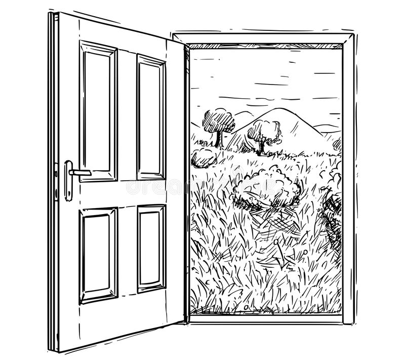 Vector Artistic Drawing Illustration of Closed Door to Beautiful Nature Landscape. Vector artistic pen and ink drawing illustration of closed door to beautiful royalty free illustration