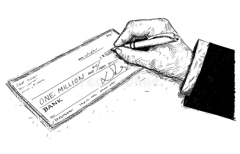 Vector Artistic Drawing Illustration of Hand of Businessman Filling One Million Dollars Check or Cheque stock illustration