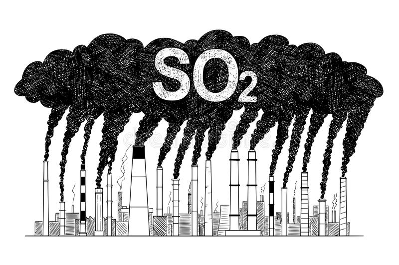 Vector Artistic Drawing Illustration of Smoking Smokestacks, Concept of Industry or Factory SO2 Air Pollution stock illustration