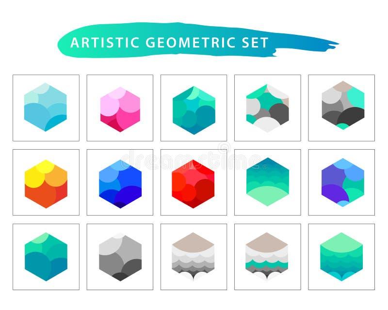 Vector artistic geometric set. stock image