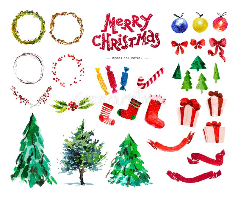 Vector artistic hand drawn collection of traditional Merry Christmas and Happy New Year decor elements isolated on white backgroun stock illustration