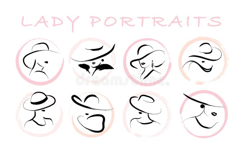 Vector artistic hand drawn stylish young lady portrait set isolated on white background. vector illustration