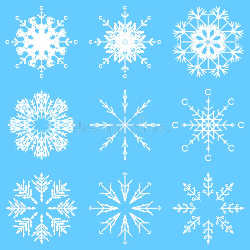 Vector artistic icy abstract crystal snow flakes stock illustration