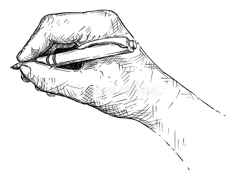 Vector Artistic Illustration or Drawing of Hand Writing With Ballpoint Pen royalty free illustration