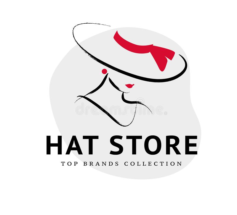 Vector artistic logo with hand drawn lady in hat portrait isolated on white background. stock illustration