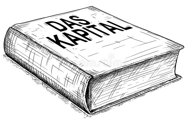 Vector Artistic Drawing Illustration of Book of Karl Marx - Das Kapital. Vector artistic pen and ink conceptual drawing illustration of book Das Kapital or vector illustration