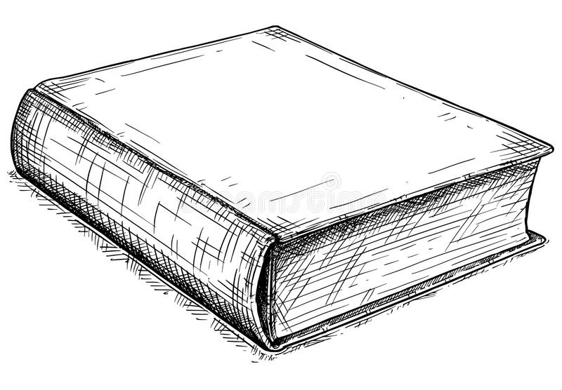 Vector Artistic Drawing Illustration of Old Closed Book royalty free illustration