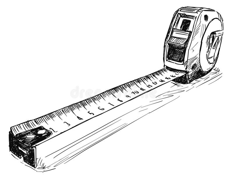 Vector Sketch Drawing Illustration of Measuring Tape stock illustration