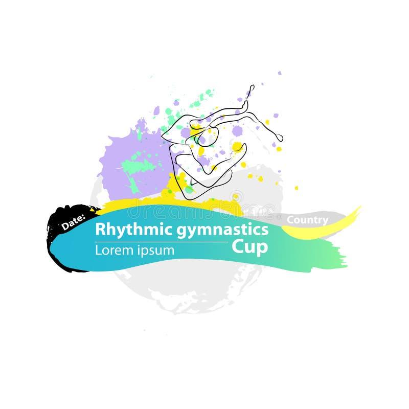 Vector artistic Rhythmic Gymnastic clubs sketch banner. royalty free stock photos