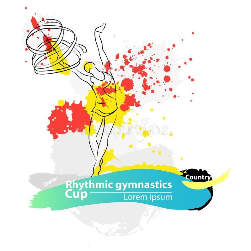 Vector artistic Rhythmic Gymnastic ribbon sketch banner. stock photo