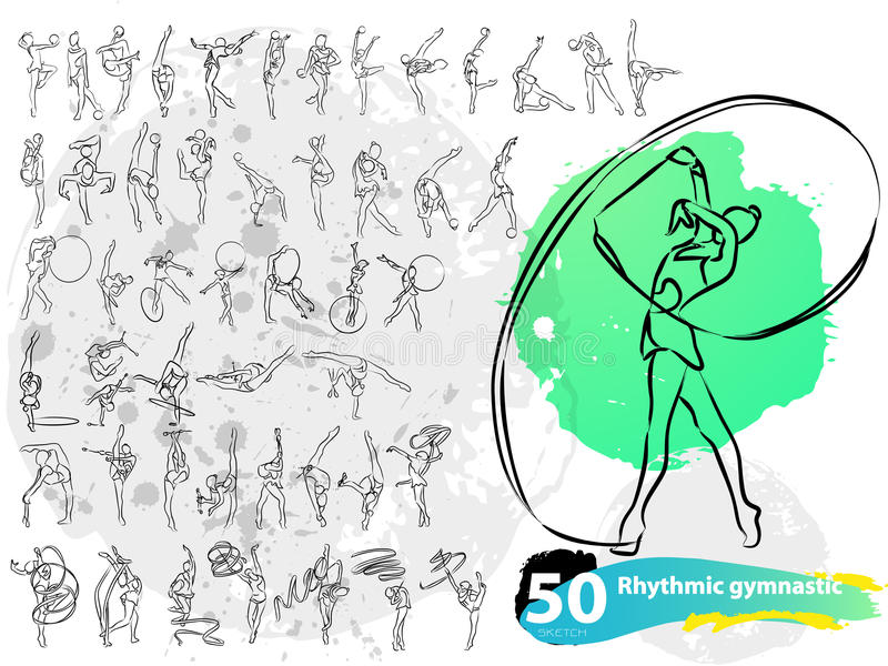 Vector artistic Rhythmic Gymnastic sketch collection. royalty free stock image