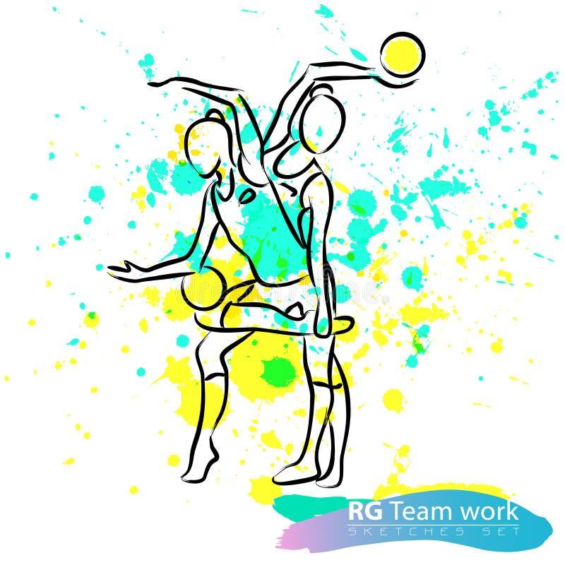 Vector artistic Rhythmic Gymnastic team sketch set. royalty free stock image