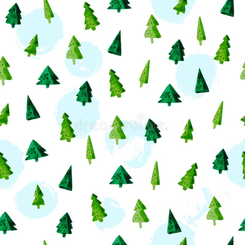 Vector artistic seamless pattern for Merry Christmas holiday with hand drawn watercolor different shapes fir tree stock illustration