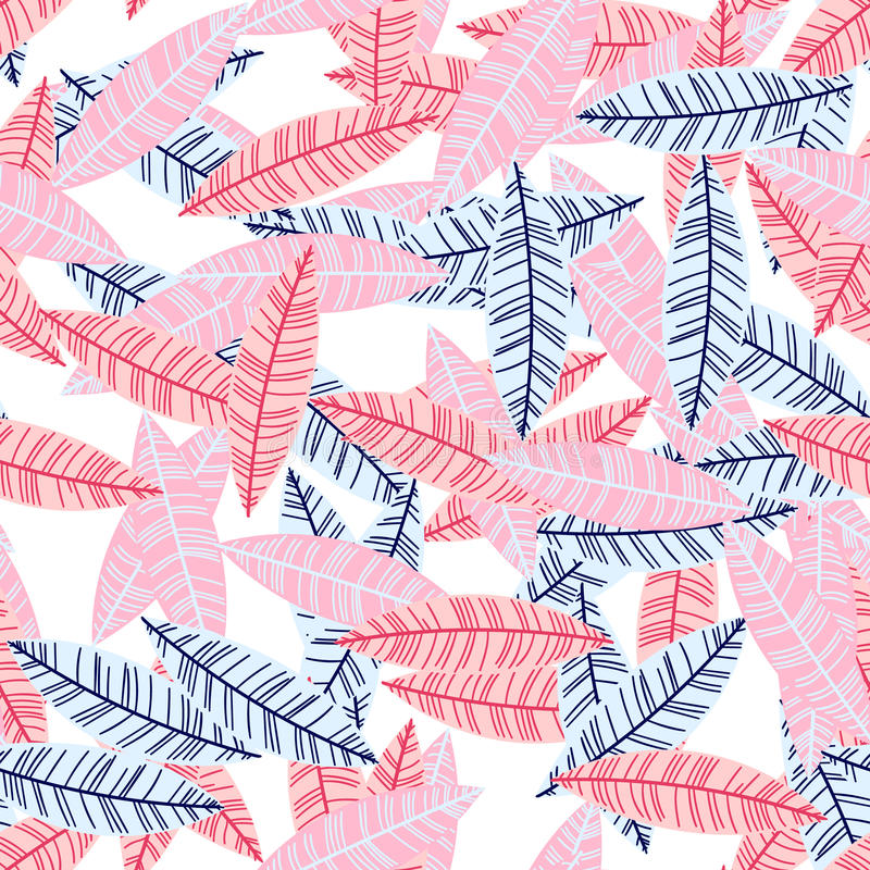 Vector artistic seamless pattern in scandinavian style. Messy primitive leaves. Simple nordic illustration. royalty free illustration