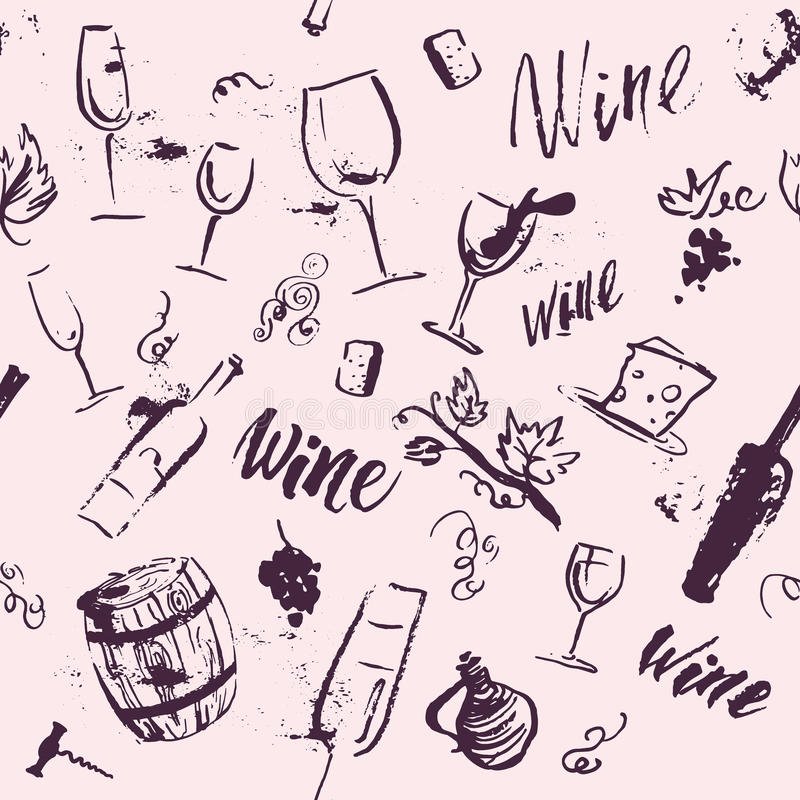 Vector artistic watercolor hand drawn seamless pattern with wine design elements isolated. stock illustration