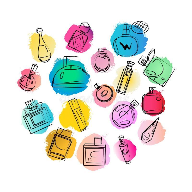 Vector artistiek die parfumbehang op witte achtergrond wordt geïsoleerd vector illustratie