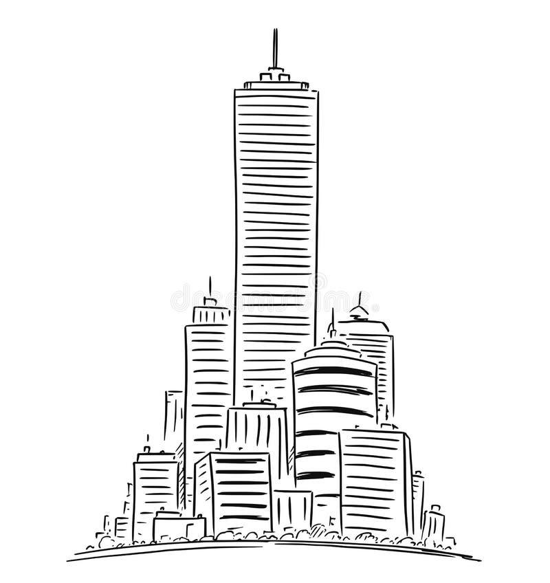 Vector Artistieke Tekeningsillustratie van Generisch Cityscape van de Stads Hoog Stijging Landschap met Wolkenkrabbergebouwen royalty-vrije illustratie