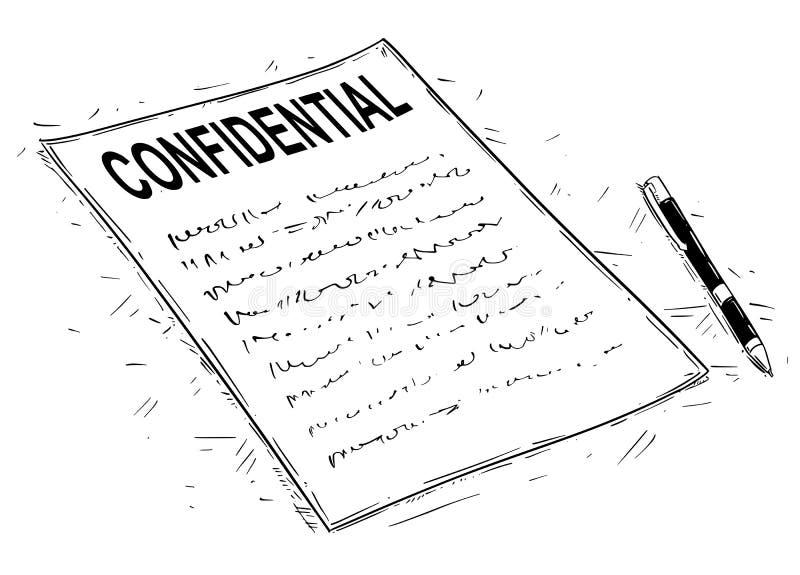 Vector Artistieke Tekeningsillustratie van Met de hand geschreven Vertrouwelijke Document en Pen royalty-vrije illustratie