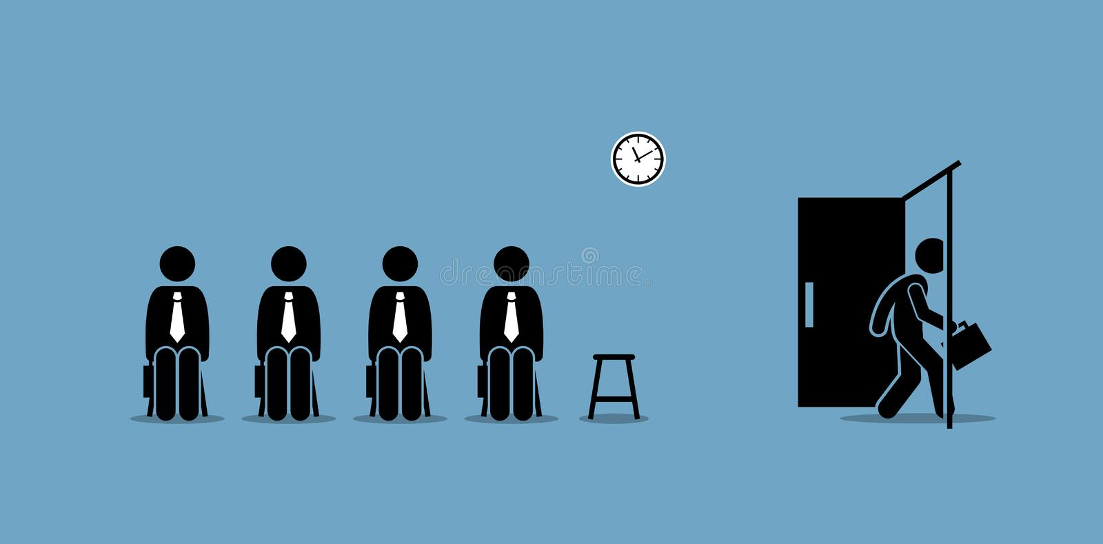Job interview candidates waiting outside the room and a candidate walking through the door. vector illustration