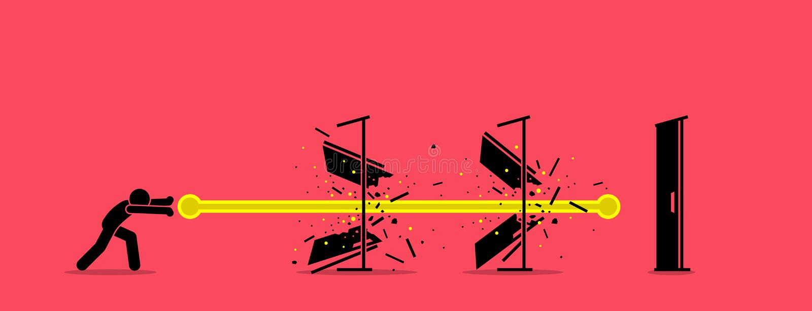 Stick figure man destroying all door with an energy fireball power. Vector artwork concept depict overcome challenges, dealing with difficulty, solving vector illustration