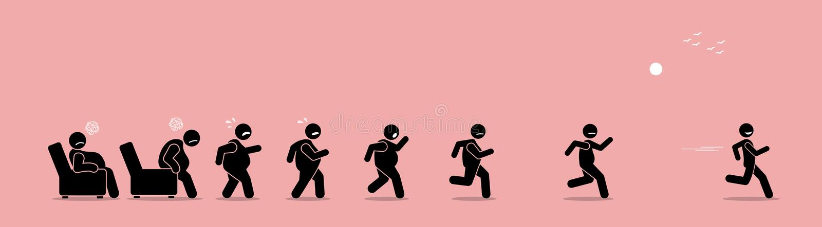 Fat man getting up, running, and become thin transformation. vector illustration