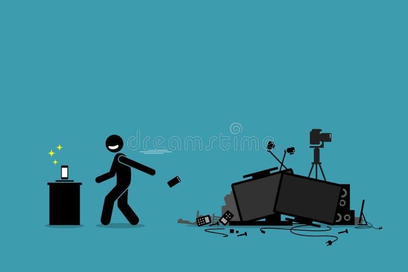 Tech Trash Problem. vector illustration