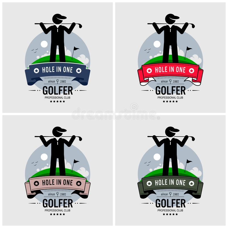 Golf club logo design. Vector artwork of a golfer posing in front of a golf course field and a green with a flag vector illustration