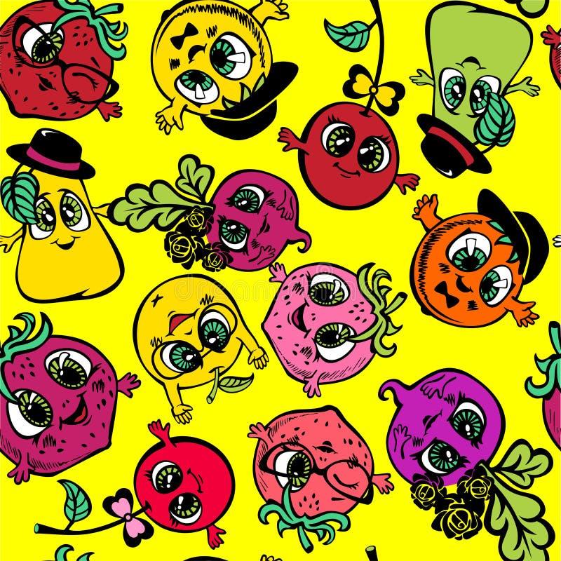 Vector as bagas do fruto tiradas no estilo dos desenhos animados fotos de stock