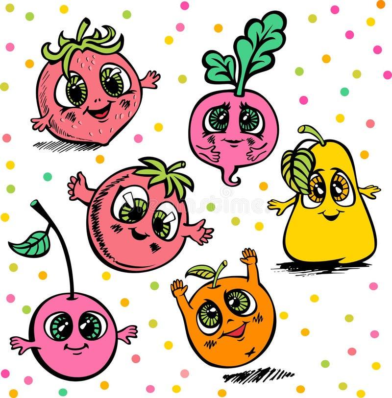 Vector as bagas do fruto tiradas no estilo dos desenhos animados imagem de stock royalty free