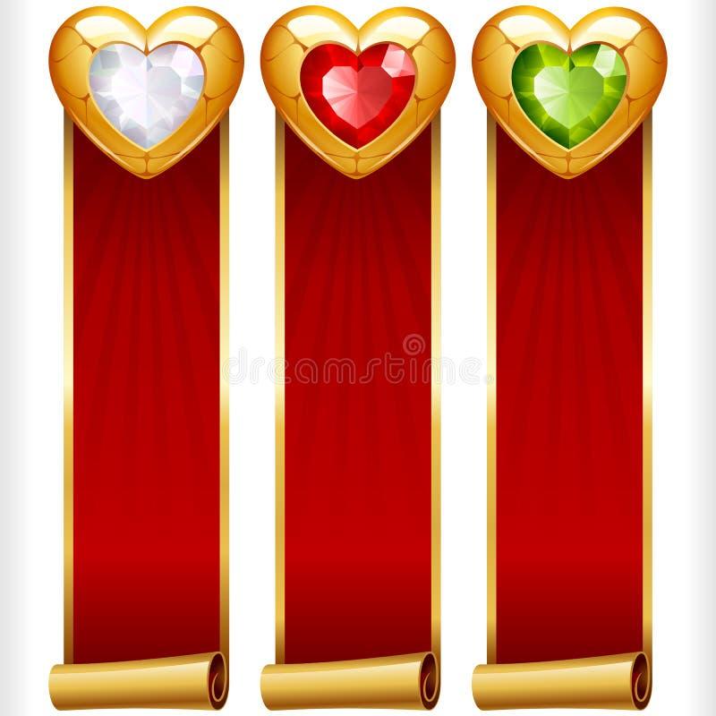 Vector as bandeiras verticais de Gem Hearts e das fitas vermelhas ajustadas ilustração do vetor