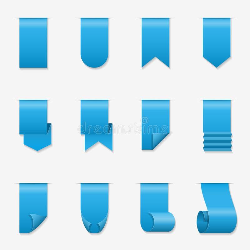 Vector as fitas de seda da bandeira do rolo com cantos ondulados ilustração stock