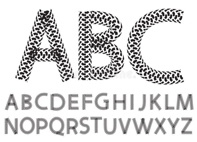 Vector as letras do alfabeto feitas das trilhas do pneu da motocicleta ilustração stock