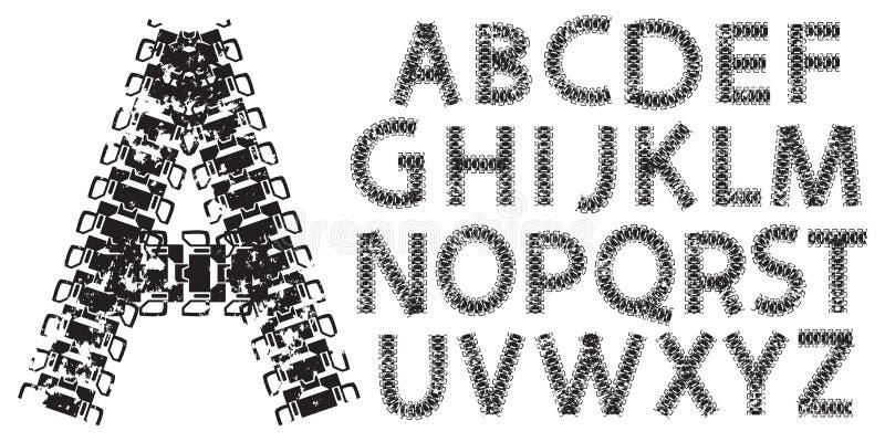 Vector as letras do alfabeto feitas das trilhas do tanque e do trator ilustração stock