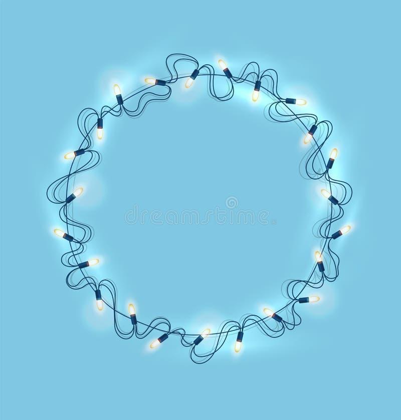 Vector as luzes de Natal, festão realística no azul ilustração royalty free