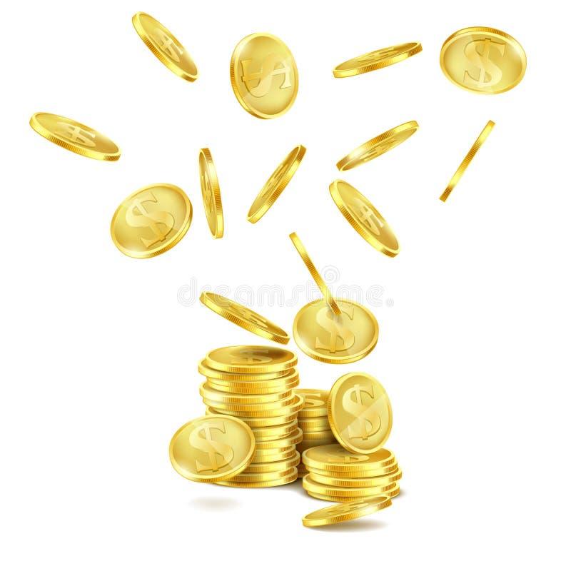 Vector as moedas de ouro de queda realísticas, chuva do dinheiro ilustração stock
