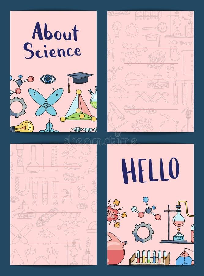 Vector as notas ou os moldes do cartão ajustadas com ciência ou química ilustração stock