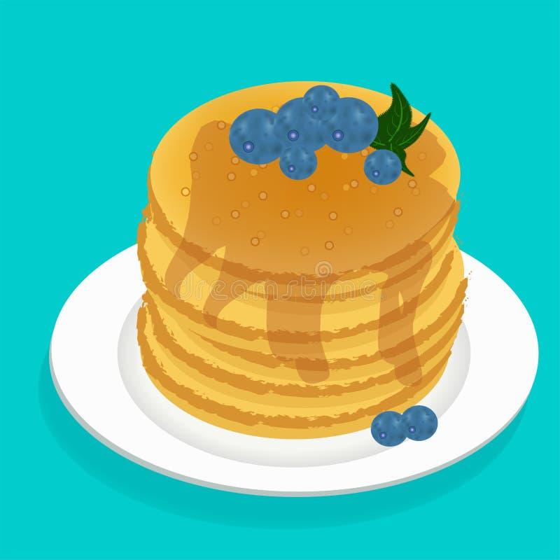 Vector as panquecas quentes deliciosas do alimento americanas com mel, ilustração stock