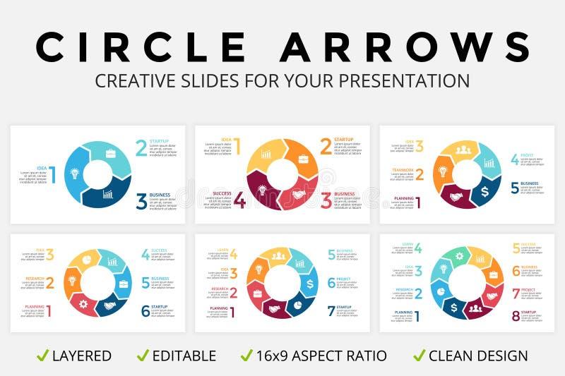 Vector as setas do círculo infographic, o diagrama do ciclo ou o gráfico, carta de torta da apresentação de corrediça 16x9 Molde  ilustração stock
