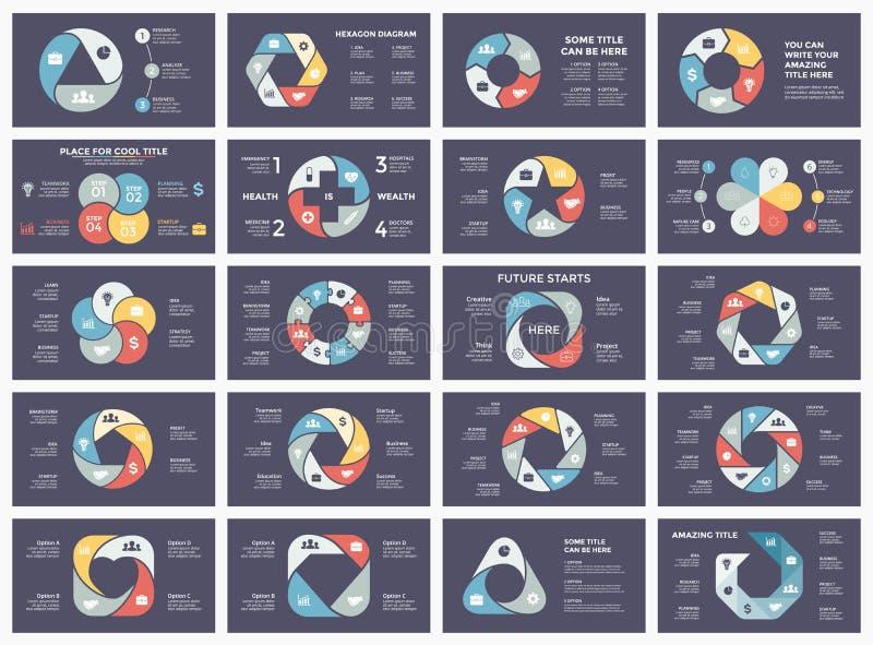 Vector as setas infographic, diagrama do círculo do ciclo, gráfico, carta da apresentação Conceito do negócio com 3, 4, 5, 6, 7,  ilustração stock