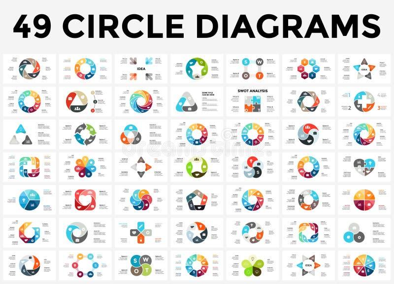 Vector as setas infographic, diagrama do círculo do ciclo, gráfico, carta da apresentação Conceito do negócio com 3, 4, 5, 6, 7,  ilustração do vetor